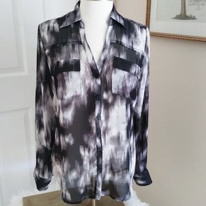 New York & Company Black Print Semi- Sheer Blouse